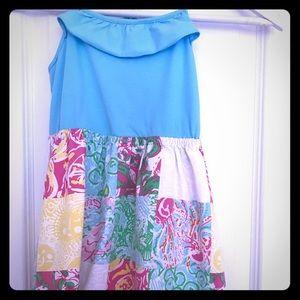 LillyPulitzer, light blue-floral pattern, M(8-10)